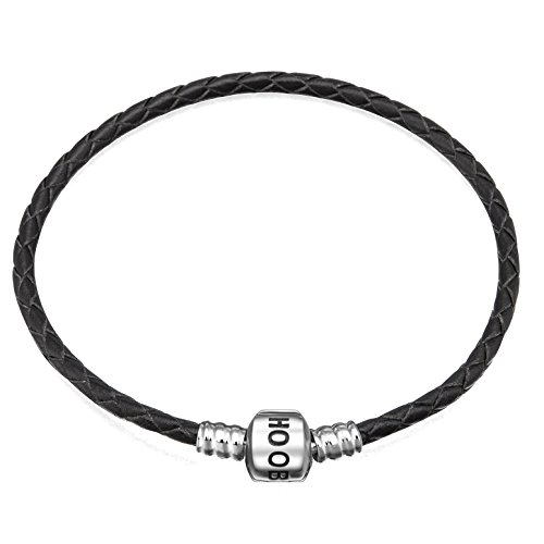 (Hoobeads Jewelry Black Leather Champagne Bracelet 925 Sterling Silver Barrel Clasp Bracelet (7.1 inches))