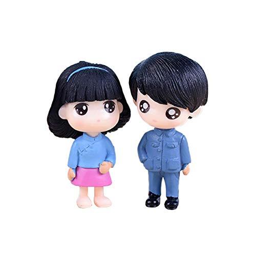 yingyue Cute Miniature Doll Mini Boy Girl Garden Dollhouse Ornaments Gift 2Pcs Blue