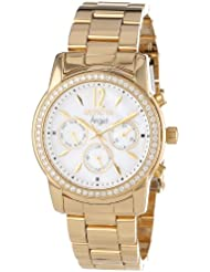 Invicta Womens 11771 Angel White Mother-Of-Pearl Dial Cubic Zirconia Accented 18k Gold Ion-Plated Stainless Steel...
