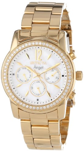 Invicta Women's 11771 Angel White Mother-Of-Pearl Dial Cubic Zirconia Accented 18k Gold Ion-Plated Stainless Steel Watch ()