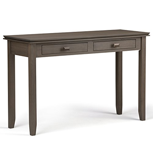 Simpli Home Artisan Solid Wood Console Sofa Table, Farmhouse Grey