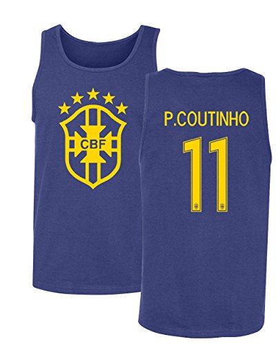 Tcamp Brazil 2018 National Soccer #11 Philippe COUTINHO World Championship Men's Tank Top (Royal, Adult Large)