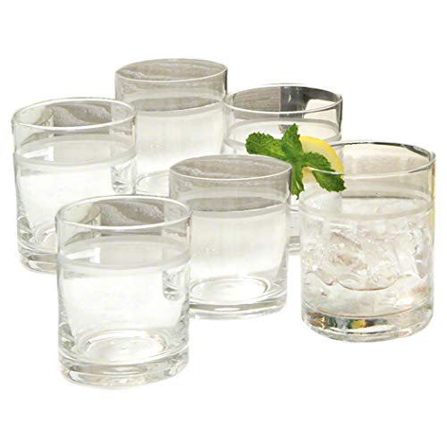 Classic Retro Banded Set 6 Drinking Glasses   Bar Double Old Fashioned Clear