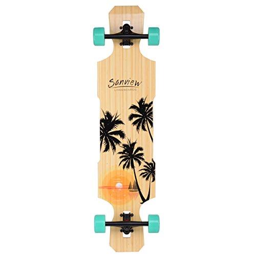 Sanview Drop Through Bamboo Longboard Skateboards (Coconut Tree) (Skateboard Deck Tree)