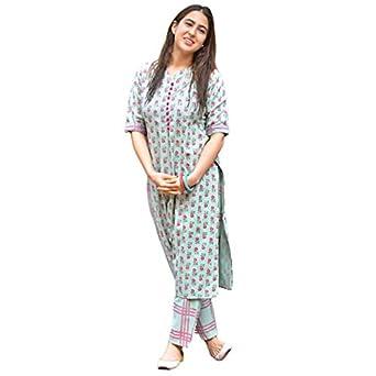 Sitaram Designer Multicolour Printed Cotton Straight Kurti with Pant