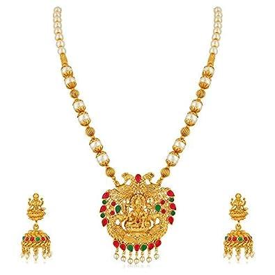 MEENAZ Temple Jewellery Traditional One Gram Lakshmi Kundan Pearl Gold  Pendant Necklace Set/Jewellery Set Jhumka Jhumki Earrings for Women Girls -