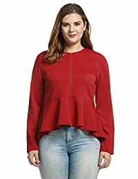 Meaneor Women Plus Size Long Sleeve O-Neck Full Zip Irregular Hem Jacket (L-4XL)