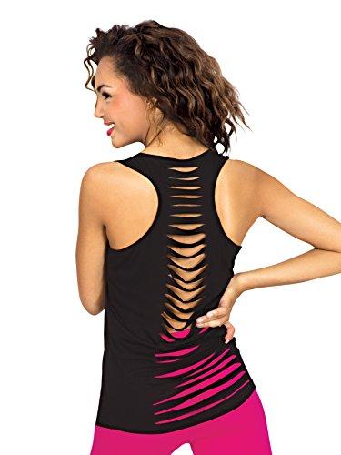 (Natalie Dancewear Adult Tank Top with Slit Back C3444BLKS Black Small)