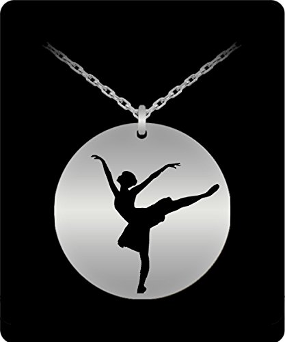 Dancer Necklace - 18k Gold Palted/Stainless Steel Laser Engraved Pendant - Great Gift Charm For Girls and (Flash Dancer Costume Ideas)
