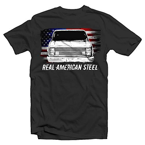 - Aggressive Thread C10 Square Body Chevy American Flag T-Shirt Black