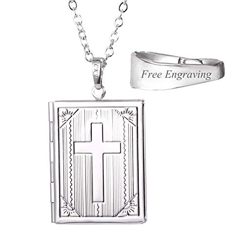 U7 Women Necklace That Hold Picture Platinum Plated Chain Cross Photo Locket Pendant, Personalized Message Engravable