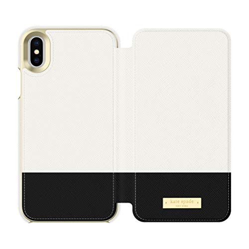 kate spade new york Cement/Black Color Block Folio Case for iPhone X/XS - Saffiano Leather ID & Card Holder