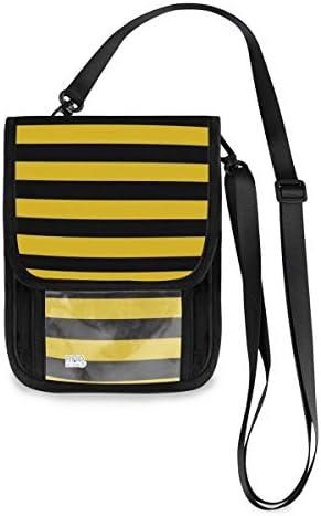 トラベルウォレット ミニ ネックポーチトラベルポーチ ポータブル イェロー ストライプ 小さな財布 斜めのパッケージ 首ひも調節可能 ネックポーチ スキミング防止 男女兼用 トラベルポーチ カードケース