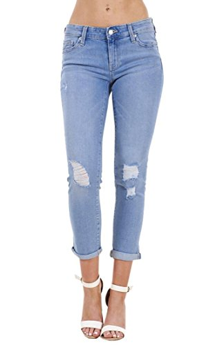 Jeans Ladies Crop Highstreet Medium Pants Holiday Blue Rip 4 Summer Stretch Denim Pockets 3 Ripped Ex xICqpE5wC