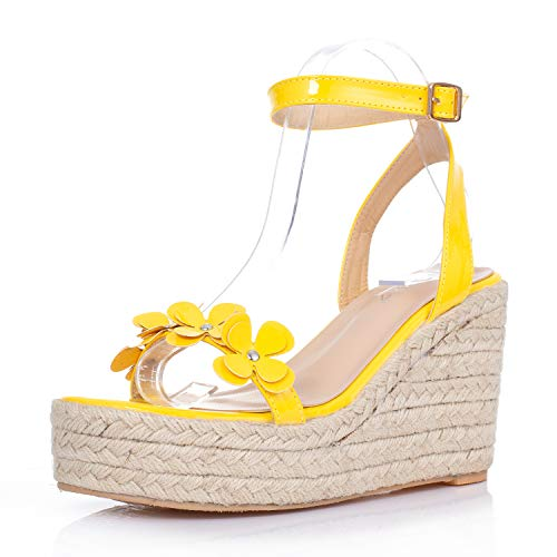 - JSUN7 Women's Wedge Sandals with Hemp Rope Flower Band Open Toe Glossy PU Ankle Strap with Buckle Sandals Fashion Party Wedding Platform Shoes for Women Yellow
