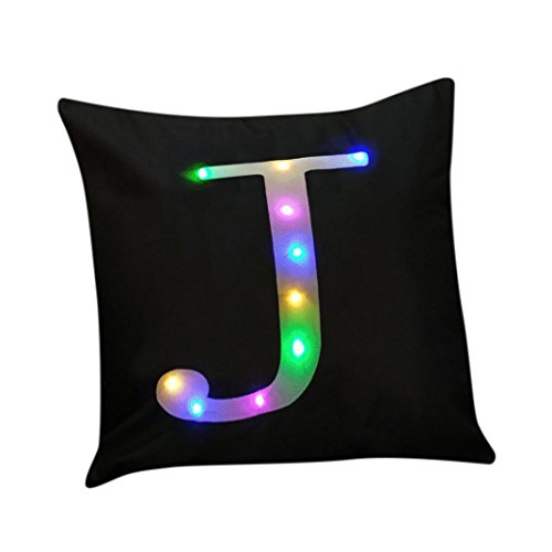 Clearance!Napoo Happy Christmas Letter Print Lighting LED Cotton Linen Pillow Cases Cushion 45cm45cm (J)
