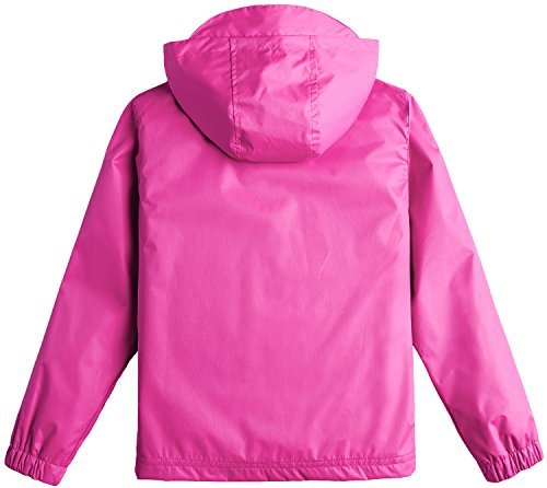 Wantdo Girl's Windproof Lightweight Softshell Jacket with Hood Raincoat for Camping(Rose Red, 4/5)