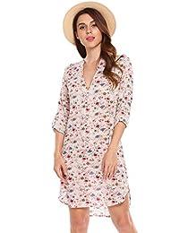 Unibelle Women's Shirt Dress Long Sleeve Split Neck Floral Printed Shift Dress,S-XXL