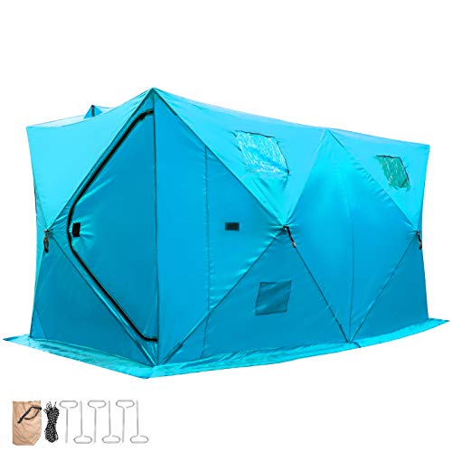 Happybuy Ice Fishing Tent 8 Person Waterproof Pop-up Portable Ice Fishing Shelter with Detachable Ventilation Windows & Carry Bag Frost Resisting Oxford Fabric Zippered Door (Blue 8 Person