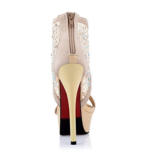 White Stilettos Open Solid Toe Womens Zipper AmoonyFashion Spikes Sandals Twxa8FUq