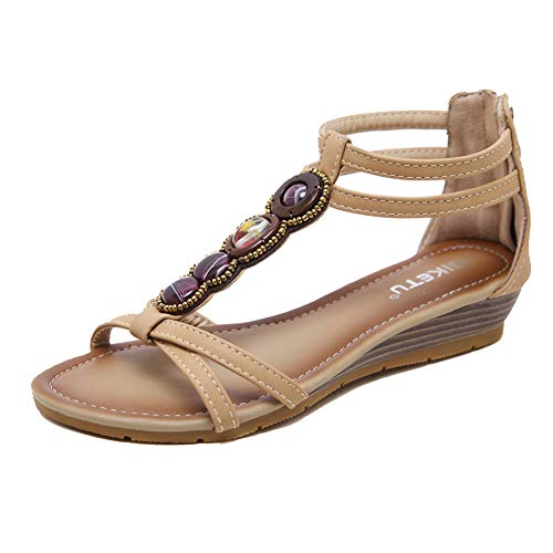 AGOWOO Womens Gladiator Ankle Strap Wedge Sandals Beaded Sandles (7 M US, B_Apricot) -