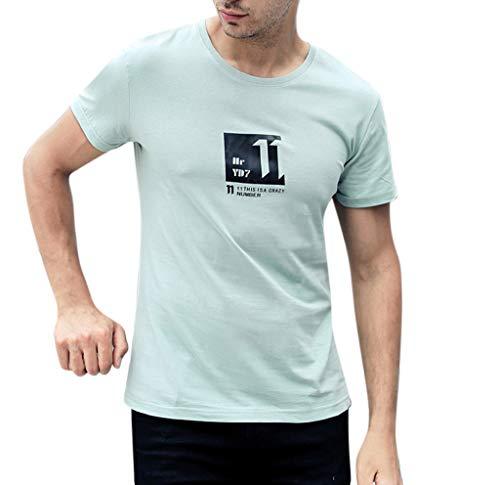 Fashion Mens Letter Printing Shirt Short Sleeve Casual T-Shirt Blouse Tops Green