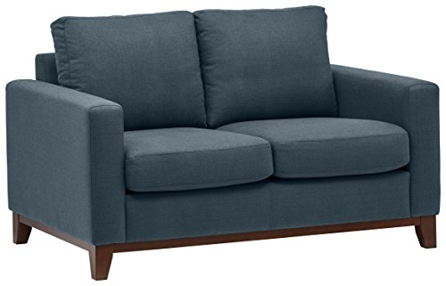 Rivet North End Exposed Wood Modern Loveseat, 59″ W, Denim