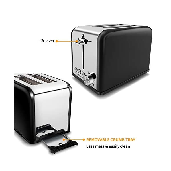Tostapane 2 Fette, Tostapane per Toast 6 Livelli di Tostatura morpilot Tostapane Funcioni di Automatico Riscaldamento… 6