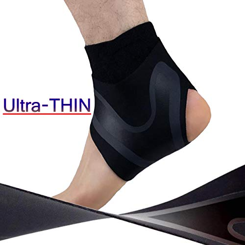 HiRui Ankle Brace Ankle Support Ankle Wrap for Running, Arthritis, Pain Relief, Sprains, Sports Injuries and Recovery, Ultra-Thin Breathable Neoprene Ankle Compression Brace (Left Foot, Medium)