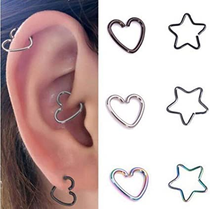 2915bb99a Amazon.com: Earrings 12 pcs Surgical Steel Heart Ring Piercing Hoop Earring Helix  Cartilage Tragus daith Earrings: Arts, Crafts & Sewing