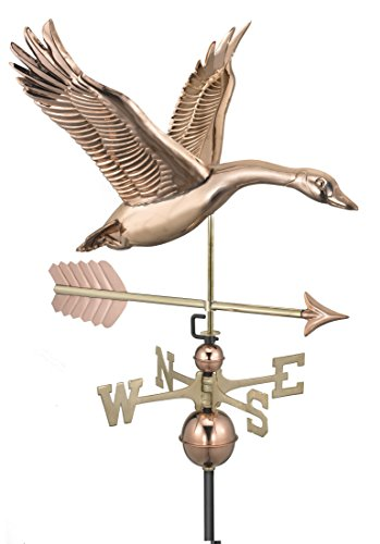 Good Directions Feathered Goose with Arrow Weathervane - Pure Copper (Goose Weathervane)