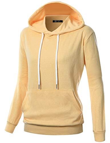Womens Lightweight Pullover Hoodies - GIVON Womens Comfortable Long Sleeve Lightweight Pullover Hoodie with Kanga Pocket/DCF019-YELLOW-S