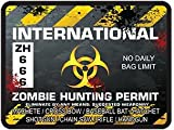 REFLECTIVE International Zombie Hunting Permit Decal Danger Zone Style