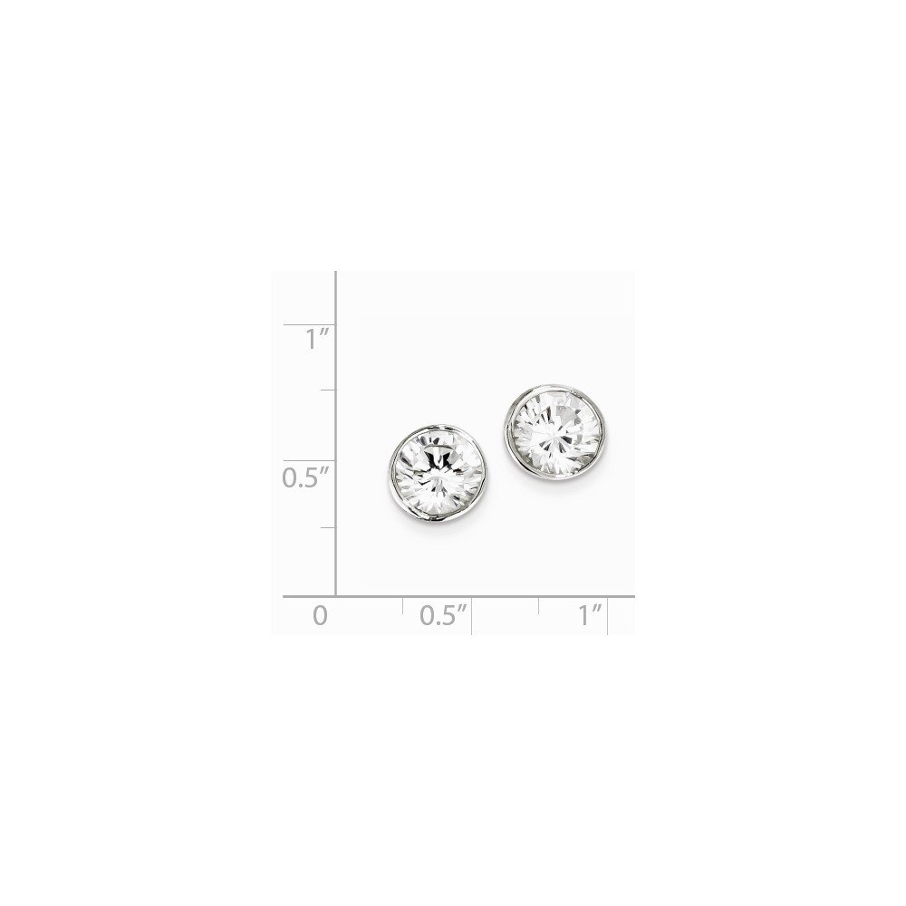 Sterling Silver Polished 8mm CZ Round Shape Bezel Stud Post Earrings