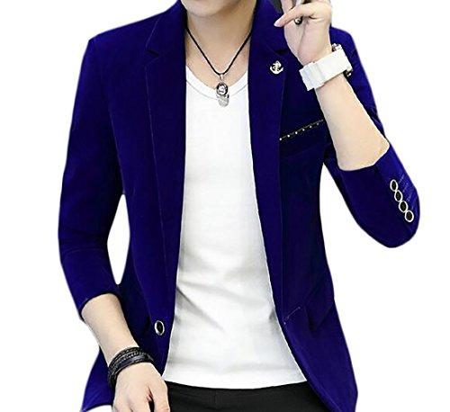 Yayu Men's Vintage Corduroy Slim Fit One Button Casual Blazer Jacket Blue XL