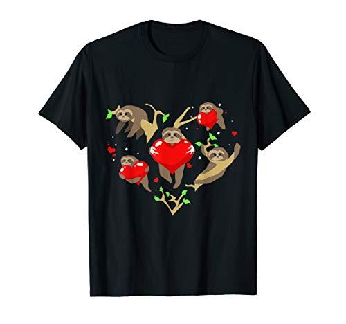 Valentines Day Sloth Stuffed Animal Love Heart Gift T Shirt.