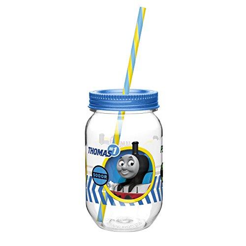 Zak! Designs Tritan Mason Jar Tumbler with Screw-on Lid and Straw featuring Thomas & Friends Graphics, Break-resistant and BPA-free Plastic, 19 oz.