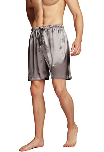 Men's Silk Pajama Boxer Shorts Grey