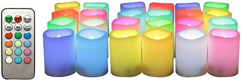 Candle Choice 24-Pack Realistic Color Changing Flameless Votive Candles Bright Battery Operated RGB Multi-Color LED Votives with Remote and Timer 1.5 x2 Party Wedding Birthday Holiday D cor Gift