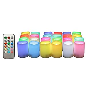 "Candle Choice 24-Pack Realistic Color Changing Flameless Votive Candles Bright Battery Operated RGB Multi-color LED Votives with Remote and Timer 1.5""x2"" Party Wedding Birthday Holiday Décor Gift"