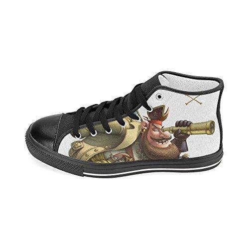 D-story Personalizzato Divertente Personaggio Pirata Mens Classico High Top Scarpe Di Tela Moda Sneaker