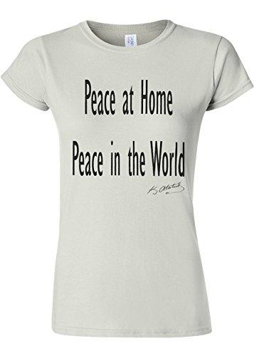 銀ただやる染料Peace at Home Peace in the World Ataturk Quote Novelty White Women T Shirt Top-S