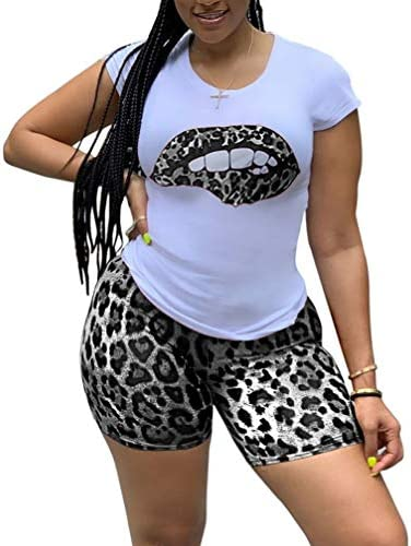 Vakkest Women Short Sleeve 2 Piece Outfits Track Suits Lips Print T Shirt Sweatshirt and Skinny Pants