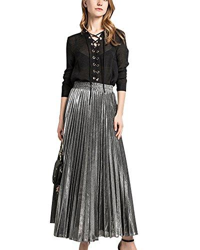 Mujer Cintura Elástica Metálico Lustre Brillante Plisada Falda Larga de la Vendimia Faldas Plata