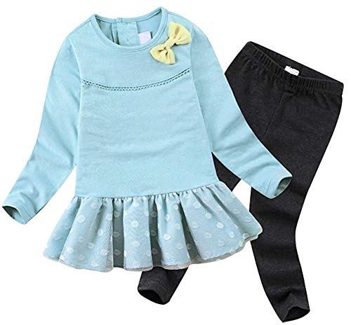 BomDeals Cute Cat Elephant Print Toddler Baby Girls Clothes Set,Long Sleeve T-Shirt +Pants Outfit (Age(3T), Blue-101)