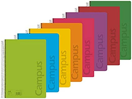 Campus 002426 Pack de 8 Cuadernos A4 Espiral Tapa Plástico 4x4 ...