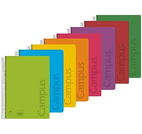 Campus 002426 Pack de 8 Cuadernos A4 Espiral Tapa Plástico 4x4 90Gr 80 Hojas: Amazon.es: Oficina y papelería