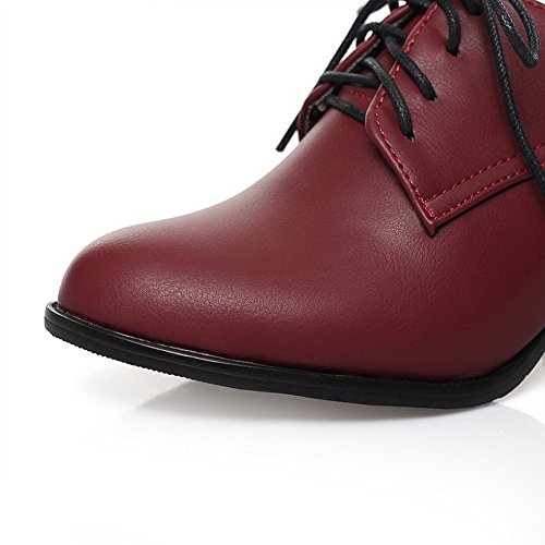 Adjustable Shoes Urethane Ladies Chunky Lace Oxfords Red Strap BalaMasa Up Heels tOpaqzzw