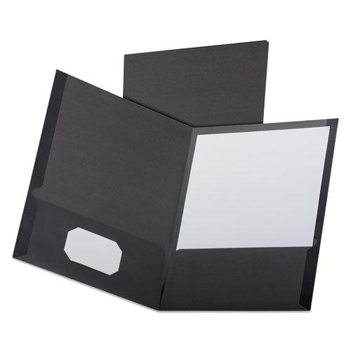 Linen Finish Twin Pocket Folders, Letter, Black,25/Box, Sold as 25 Each