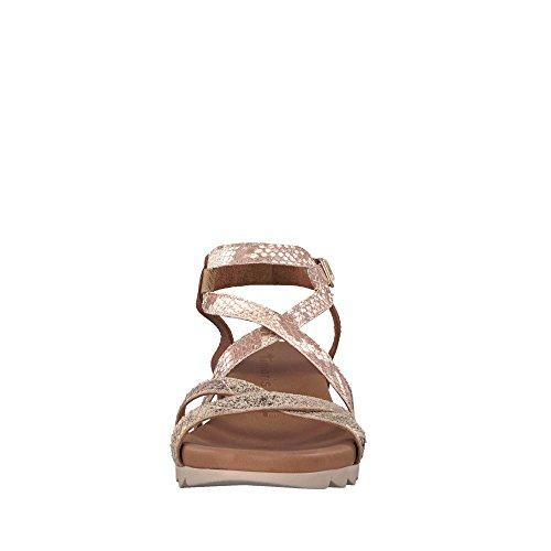 Tamaris 28709-20 098 Damen Sandale Aus Glattleder verstellbares Klettriemchen, Groesse 37, Cognac/Gold